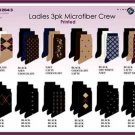 Wholesale Ladies 3 Pk Microfiber Patterned Crew