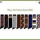 Wholesale Missy 1 Pk Patterned Knee High