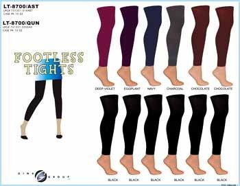 Wholesale Ladies Footless Tights / Ast Colors