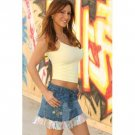 Wholesale Embroidered Denim Skirt with Ruffle