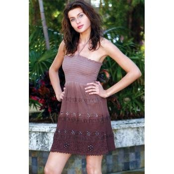 Wholesale Embroidered & Embellished Tube Dress w/ Lace Trim