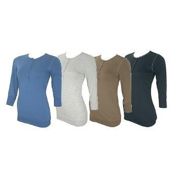 Wholesale COED: Junior 3/4 Sleeve Henley Shirts