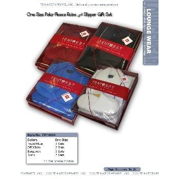 Wholesale Polar fleece robe / slipper set gift set Unisex