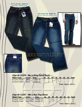 Wholesale Men's 5 Pocket Rain Drop Dark Blue Denim Jean