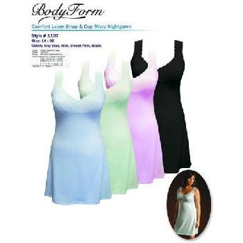 Wholesale BodyForm Lacy Strap Nightgown