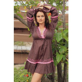 Wholesale Drawstring Baby Doll Embroidered Tunic