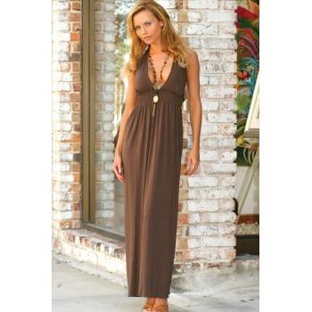 Wholesale Brushed Rayon Long Deep-V Halter Dress w/ Smocking