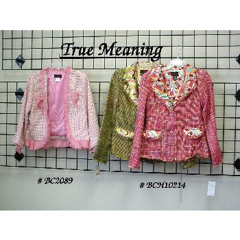 """NEW! Wholesale Famous Brand """"True Meaning"""" Ladies Blazers-Assort."""