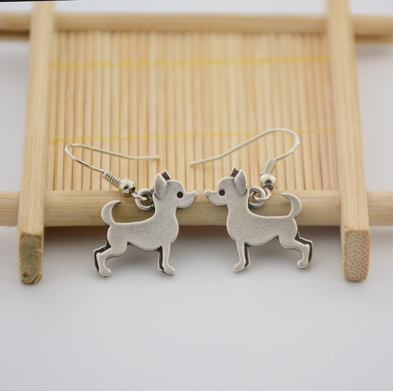 Puppy Dog Silver Chihuahua Dog Drop Earrings Women Jewelry Dog Lover
