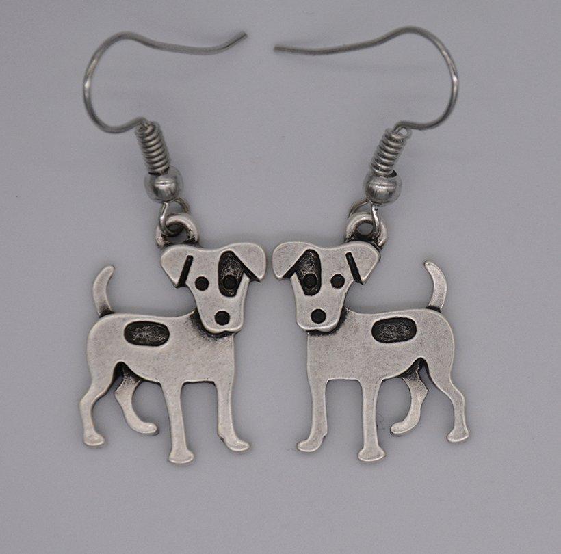 Puppy Dog Silver Jack Russell Drop Earrings Women Jewelry Dog Lover