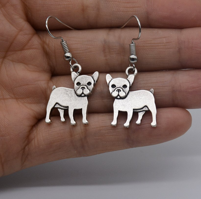 Puppy Dog Silver French Bull Dog Drop Earrings Women Jewelry Dog Lover