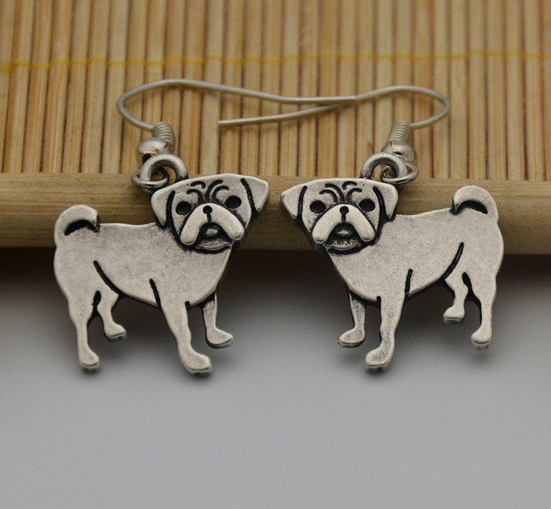 Puppy Dog Silver Pug Dog Drop Earrings Women Jewelry Dog Lover