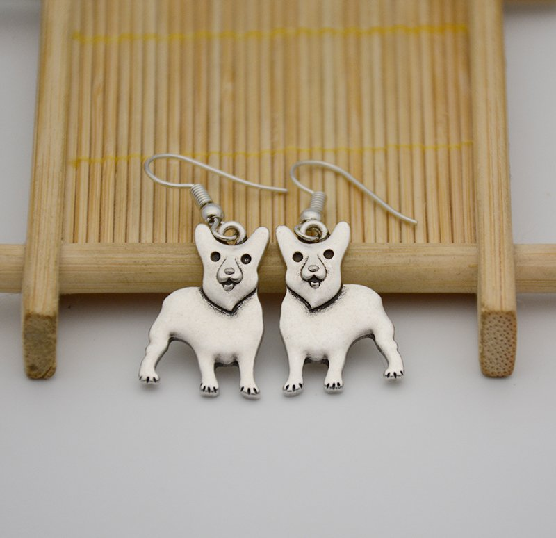 Puppy Dog Silver Welsh Corgi Dog Drop Earrings Women Jewelry Dog Lover