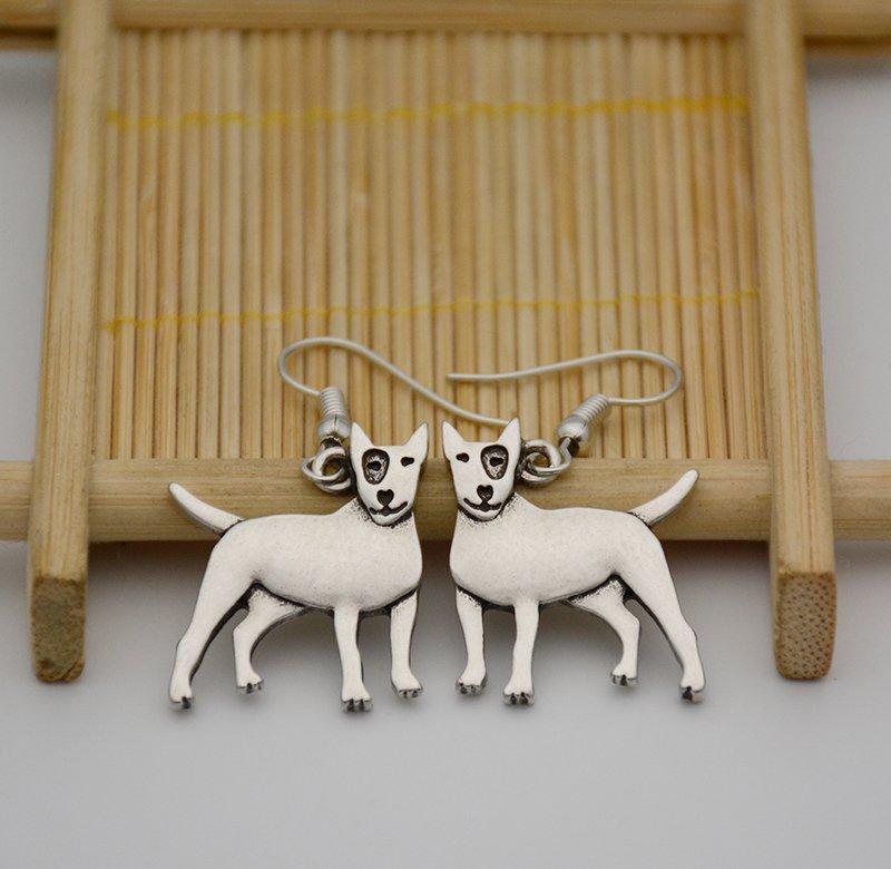 Puppy Dog Silver Bull Terrier Dog Drop Earrings Women Jewelry Dog Lover