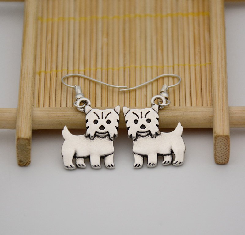 Puppy Dog Silver Yorkshire Terrier Dog Drop Earrings Women Jewelry Dog Lover