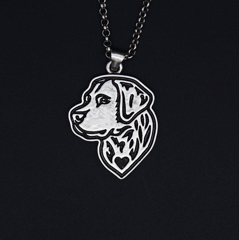 Vintage Silver Labrador Retriever Dog Pendant Necklace Chain Box Women Men Fashion