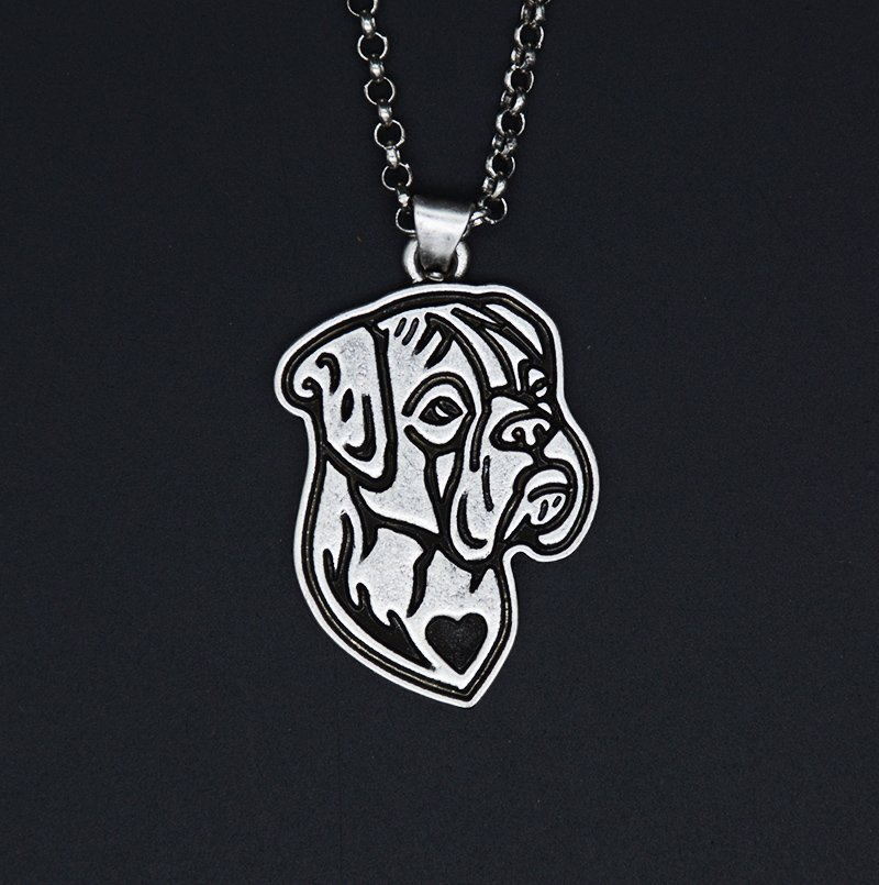 Vintage Silver Boxer Necklace Dog Tag Maxi Statement Necklace Chain Box Women Men Fashion