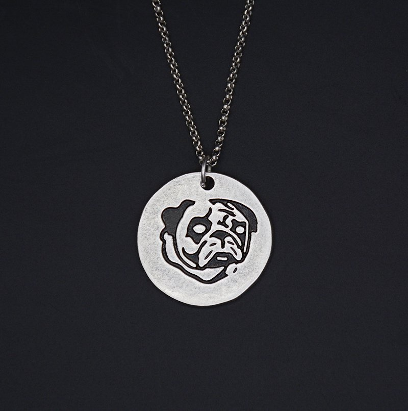 Vintage Silver Pug Dog Tag Maxi Statement Necklace Chain Box Women Men Fashion