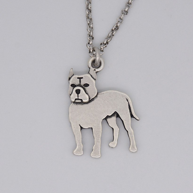 Vintage Silver Pit Bull Terrier Dog Tag Maxi Statement Necklace Chain Box Women Men Fashion