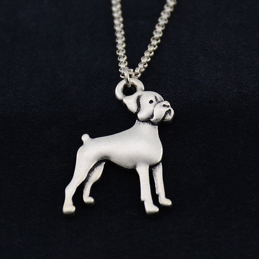 Vintage Silver Boxer Necklace Dog Necklace Chain Box Women Men Fashion