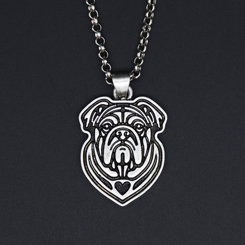 Vintage Silver Bull Dog Necklace Dog Tag Maxi Statement Necklace Chain Box Women Men Fashion