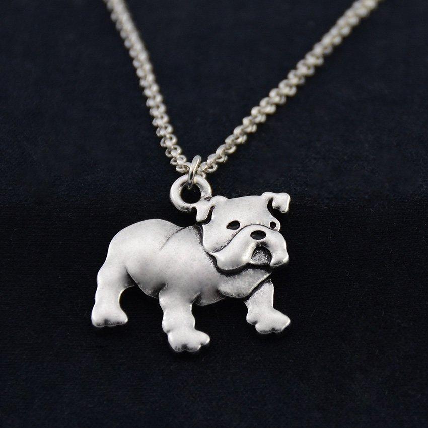 Vintage Silver English Bull Dog Necklace Dog Necklace Chain Box Women Men Fashion