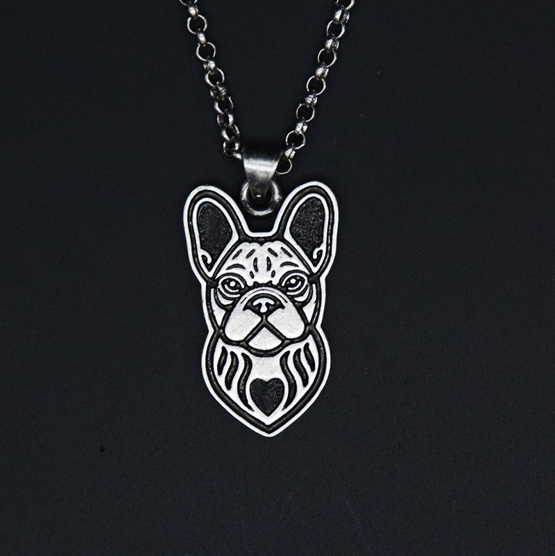 Vintage Silver French Bull Dog Necklace Dog Tag Maxi Statement Necklace Chain Box Women Men Fashion