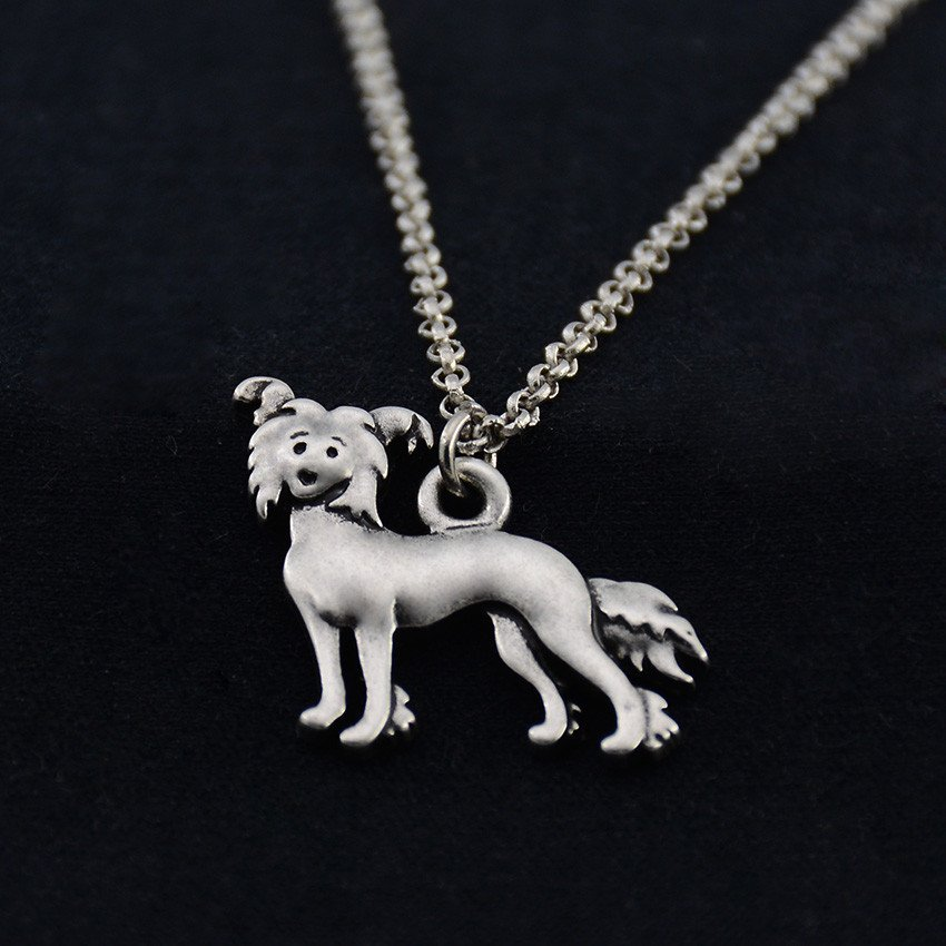 Vintage Silver Chinese Crested Dog Necklace Dog Necklace Chain Box Women Men Fashion