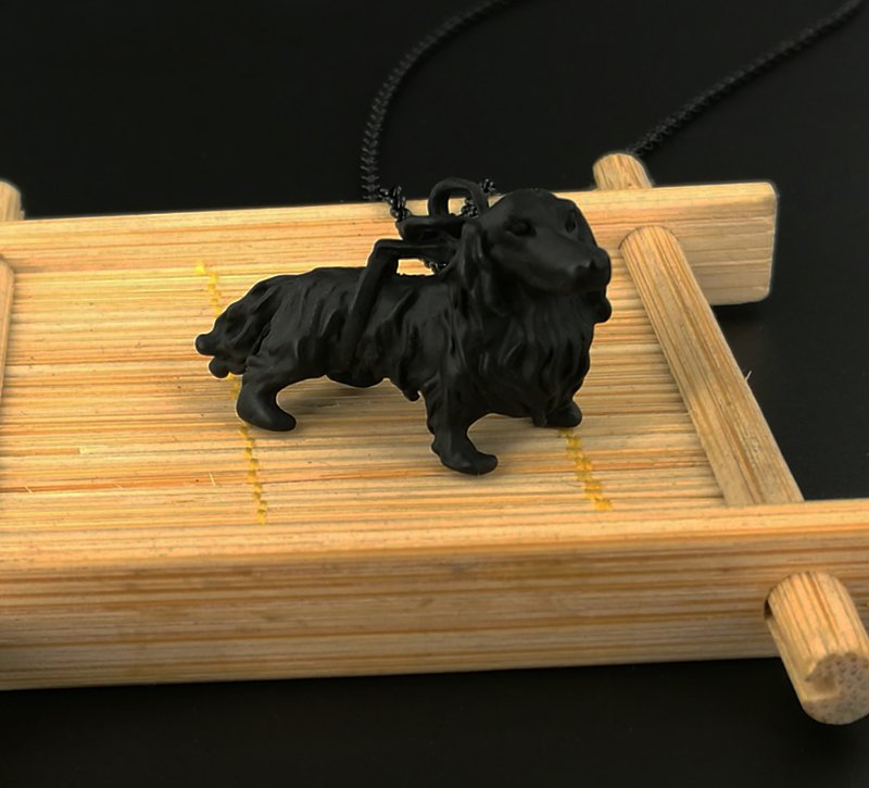 Vintage 3D Dachshund Dog Necklace Chain Box Women Men Fashion - Black Gun Color