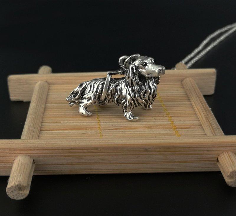 Vintage 3D Dachshund Dog Necklace Chain Box Women Men Fashion - Antique Silver Color