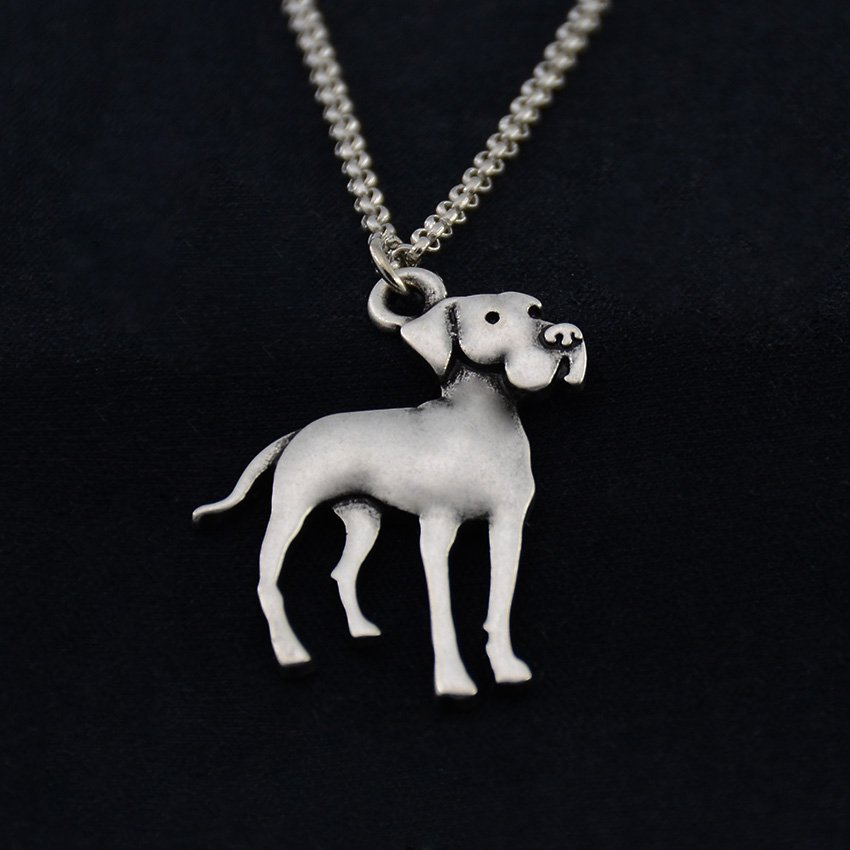 Vintage Silver Great Dane Dog Necklace Dog Necklace Chain Box Women Men Fashion