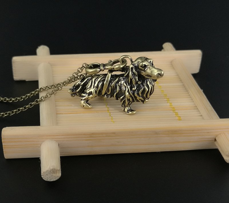 Vintage 3D Dachshund Dog Necklace Chain Box Women Men Fashion - Antique Bronze Color
