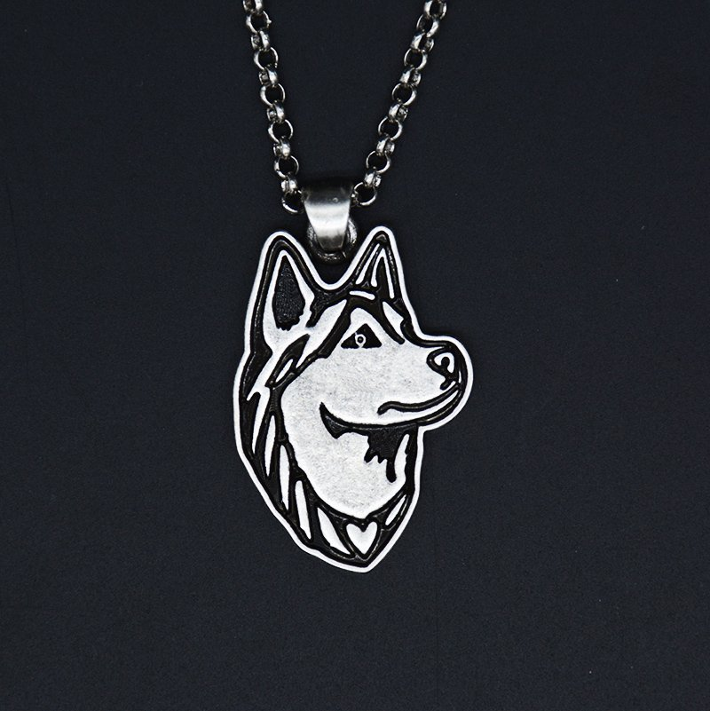 Vintage Silver Siberian Husky Dog Tag Maxi Statement Necklace Chain Box Women Men Fashion