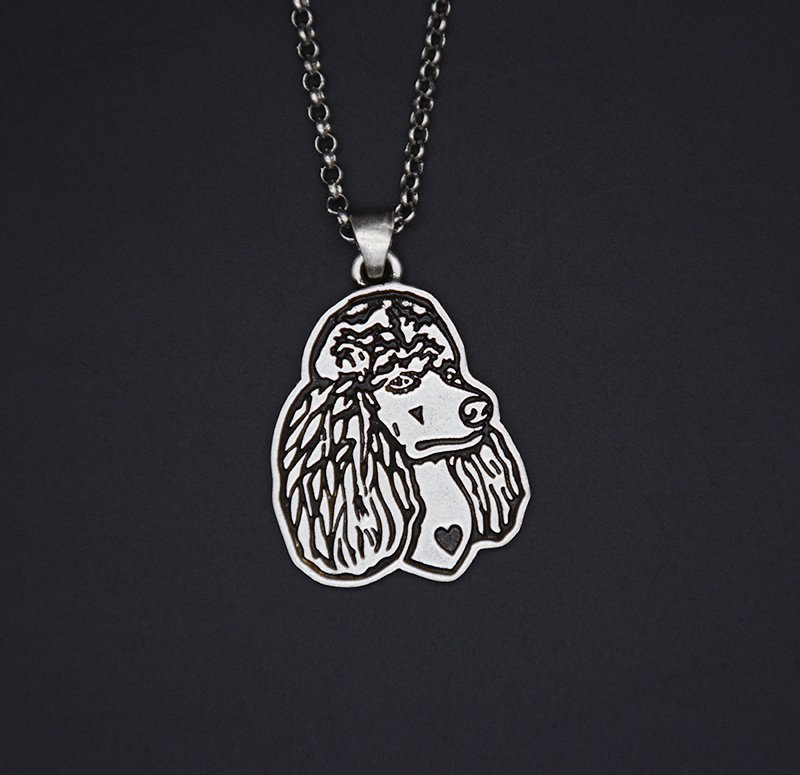 Vintage Silver Poodle Dog Tag Maxi Statement Necklace Chain Box Women Men Fashion