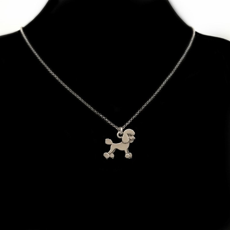 Vintage Silver Poodle Dog Necklace Chain Box Women Men Fashion