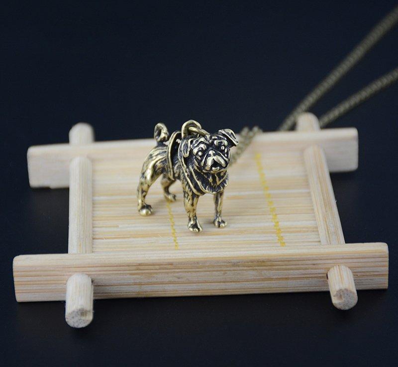 Vintage 3D Pug Dog Necklace Chain Box Women Men Fashion - Antique Bronze Color