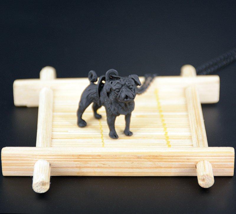 Vintage 3D Pug Dog Necklace Chain Box Women Men Fashion - Black Gun Color