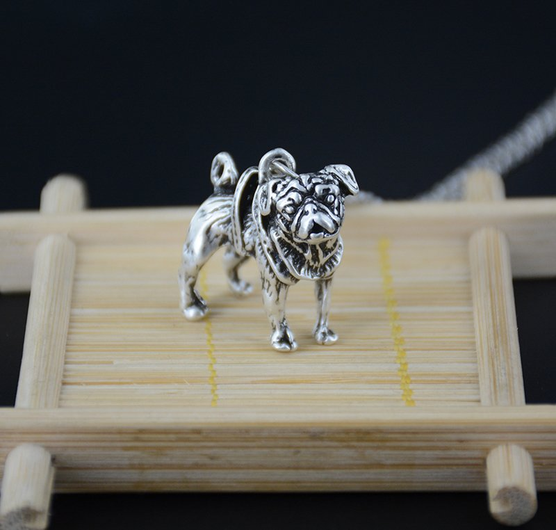 Vintage 3D Pug Dog Necklace Chain Box Women Men Fashion - Antique Silver Color