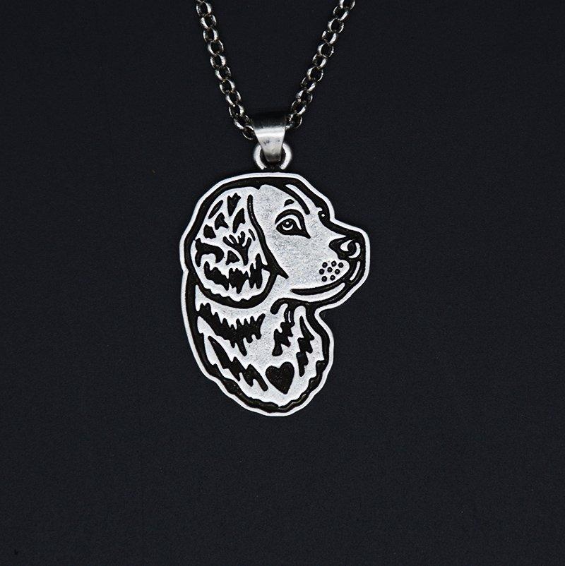 Vintage Silver Golden Retriever Dog Tag Maxi Statement Necklace Chain Box Women Men Fashion