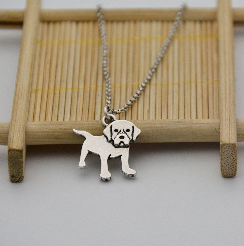 Vintage Silver Golden Retriever Dog Necklace Chain Box Women Men Fashion