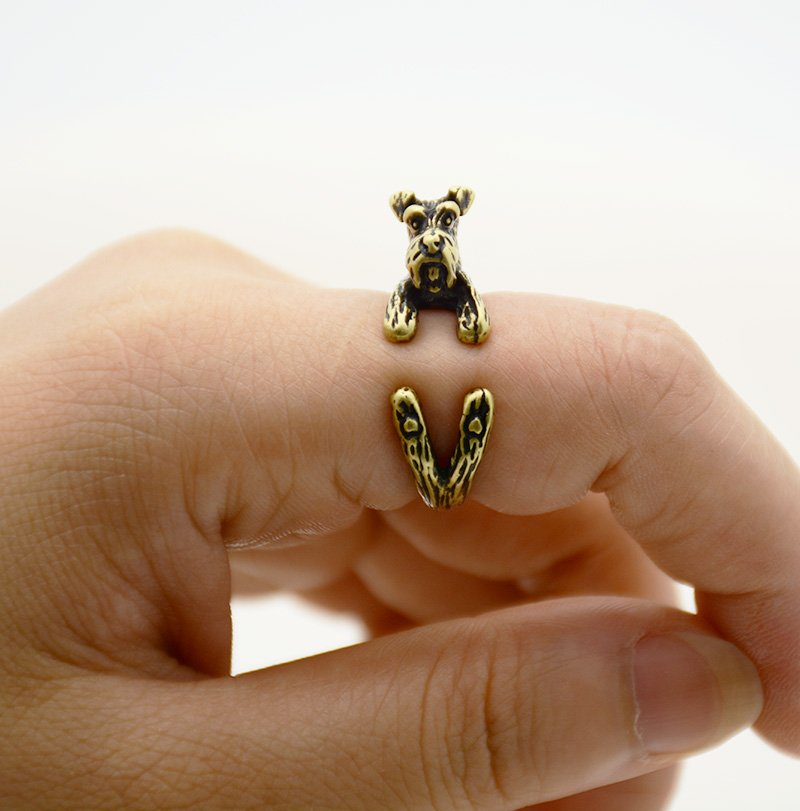 Vintage 3D Miniature Schnauzer Dog Pet Adjustable Wrap Ring Men Animal Dog Rings For Women - Bronze