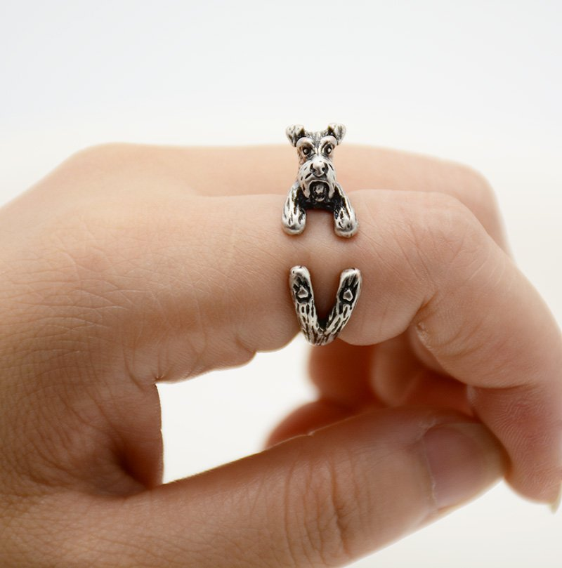 Vintage 3D Miniature Schnauzer Dog Pet Adjustable Wrap Ring Men Animal Dog Rings For Women - Silver