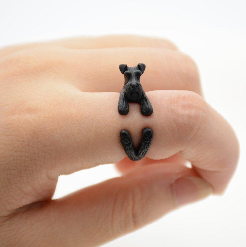 Vintage 3D Miniature Schnauzer Dog Pet Adjustable Wrap Ring Men Animal Dog Rings For Women - Black