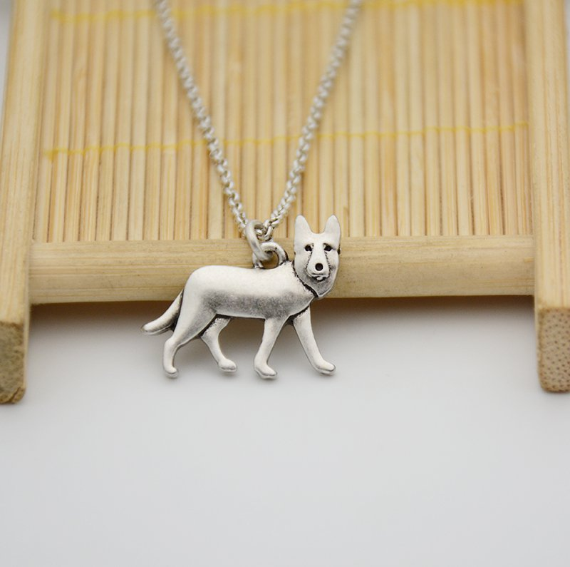 Vintage Silver German Shepherd Dog Necklace Chain Box Women Men Fashion