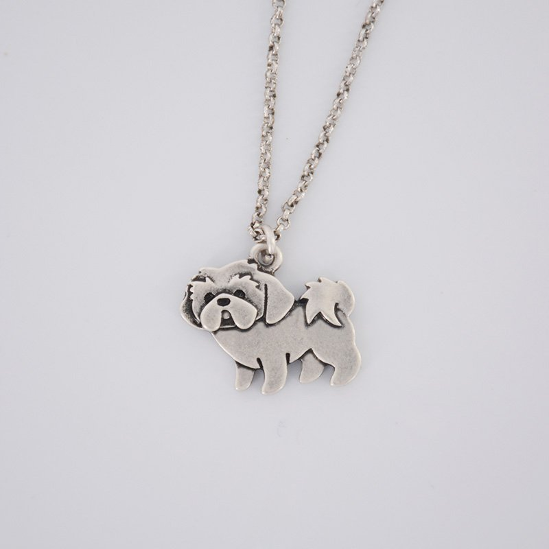Vintage Silver Shih Tzu Dog Pendant Necklace Chain Box Women Men Fashion