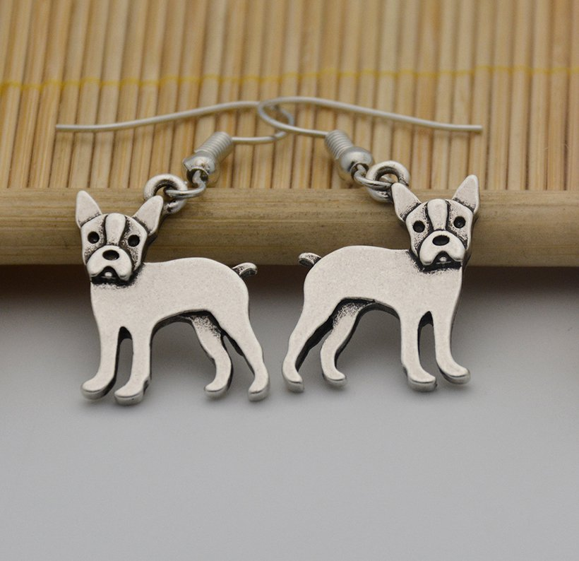 Puppy Dog Silver Boston Terrier Dog Drop Earrings Women Jewelry Dog Lover