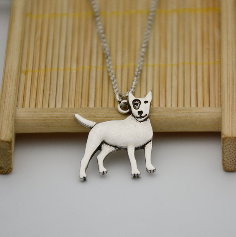 Vintage Silver Bull Terrier Dog Pendant Necklace Chain Box Women Men Fashion