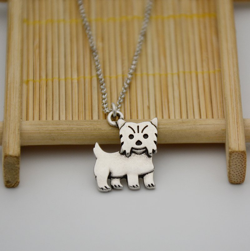 Vintage Silver Yorkshire Dog Pendant Necklace Chain Box Women Men Fashion