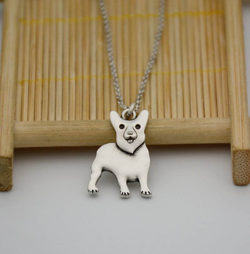 Vintage Silver Welsh Corgi Dog Pendant Necklace Chain Box Women Men Fashion