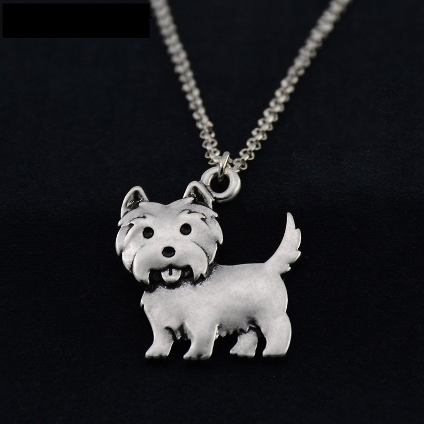 Vintage Silver Westie Dog Necklace Chain Box Women Men Fashion